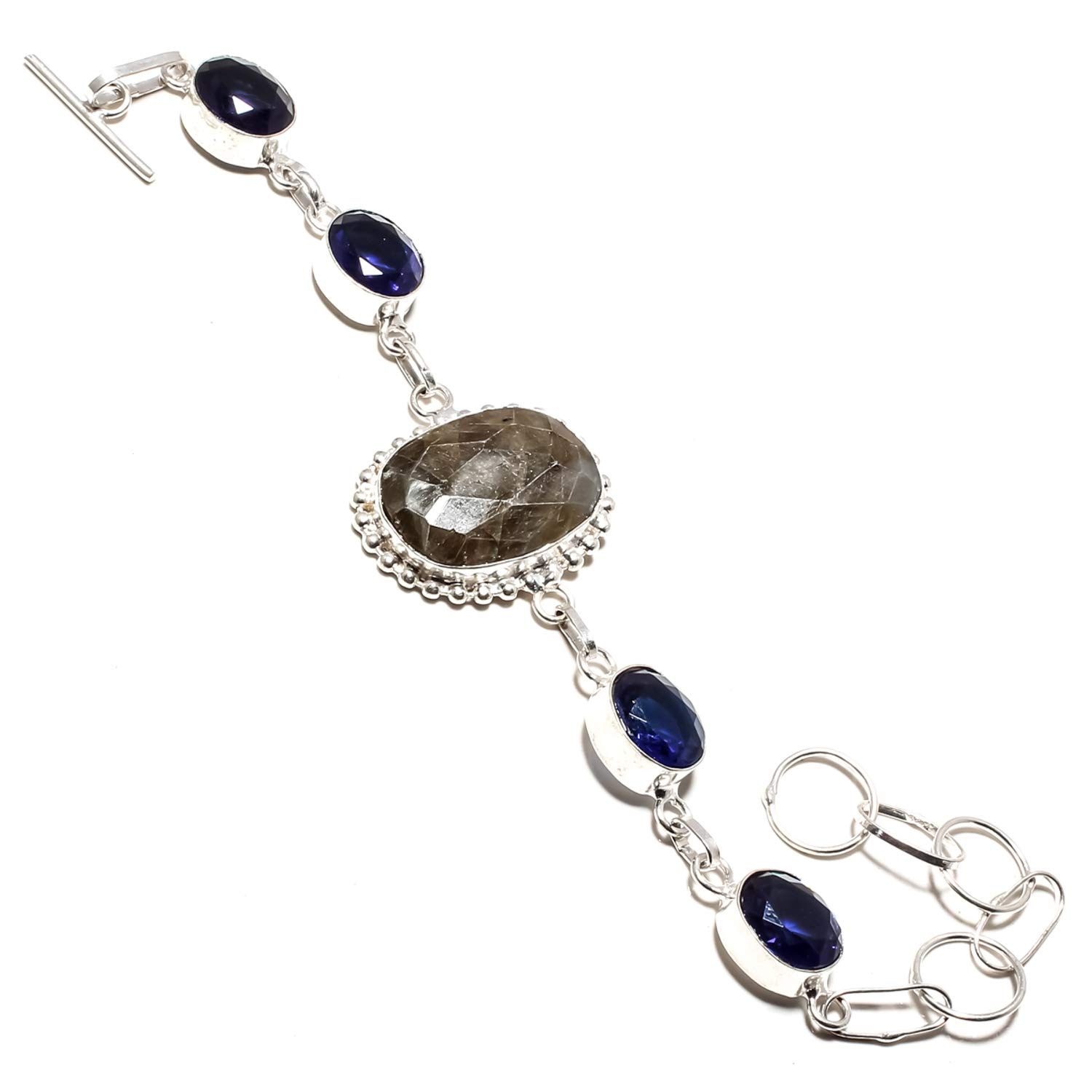 SF-1260 Gorgeous Faceted Labradorite /& Blue Sapphire Gemstone Bracelet Handmade 925 Sterling Silver Plated Jewelry Adjustable and Flexible Length-Link Chain Bracelet