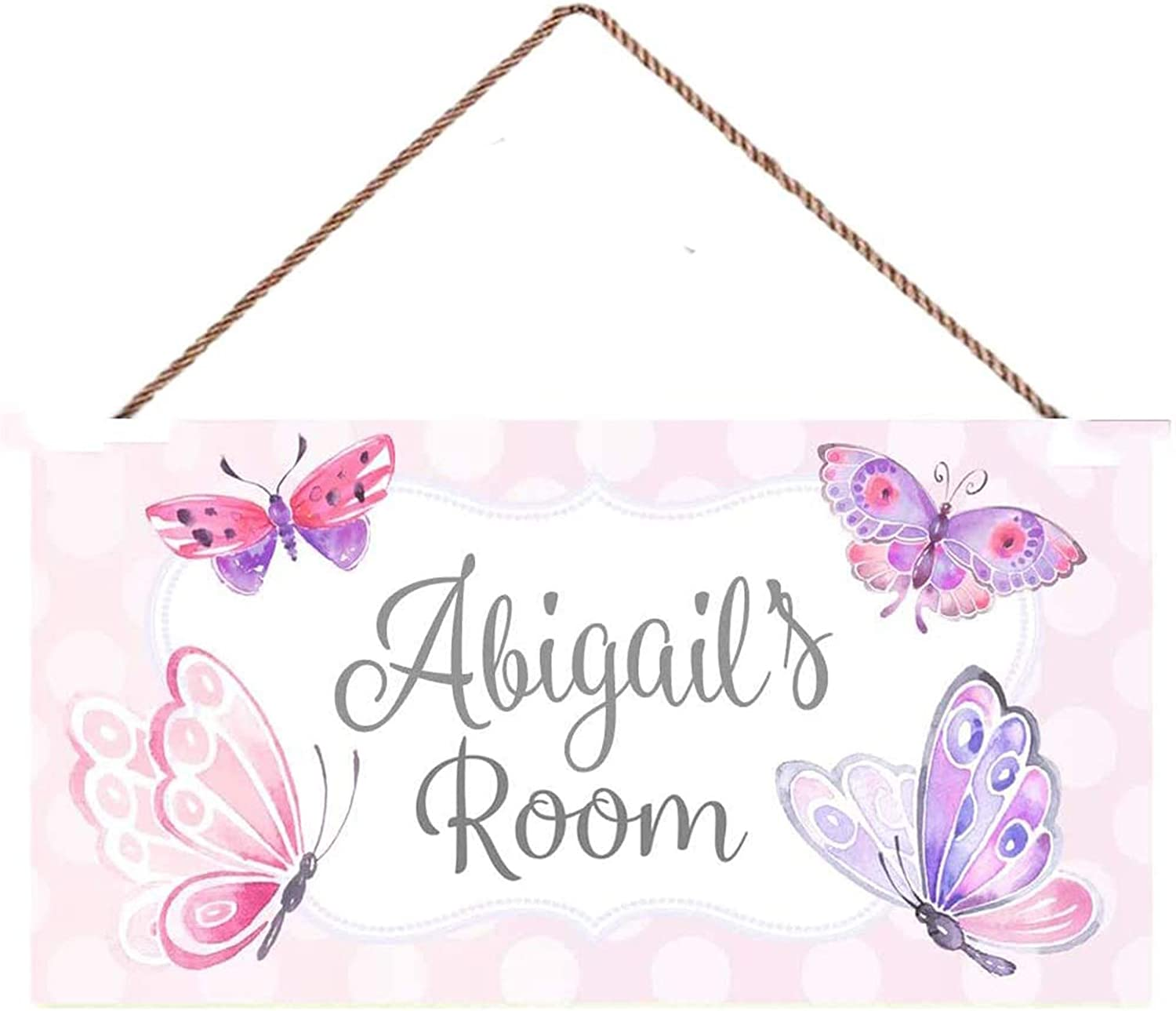 aianhe Personalized Name Pretty Purple and Pink Butterfly Girls Bedroom Door Sign Wall Art Décor