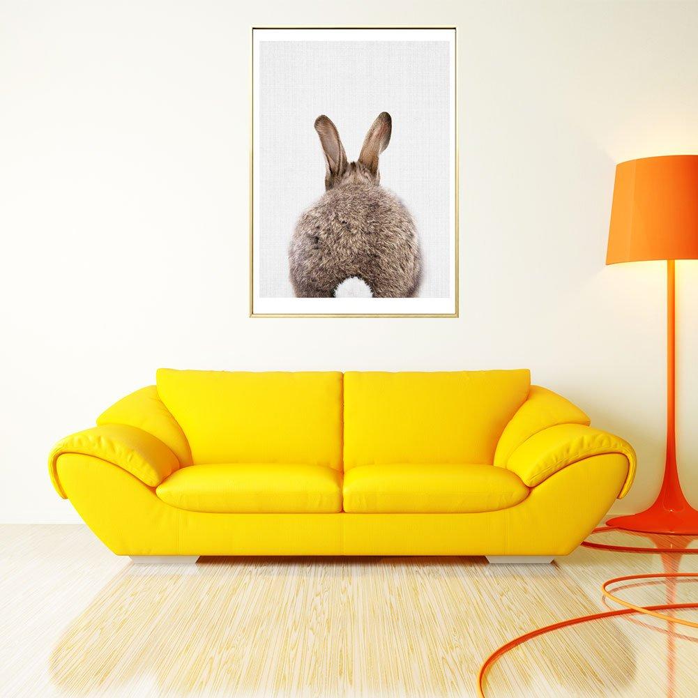 2 Profusion Cercle D/écoration Moderne Peinture Mignon Lapin sans Cadre Photos sur Toile Peinture Murale Home Decor Poster 20 * 25cm Toile