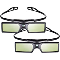 Pergear 3D Active Shutter Glasses Bluetooth Eyewear TV Glasses for Samsung/SONY/Panasonic/Konka/LG/Toshiba Bluetooth 3D TVs - 2 Pairs