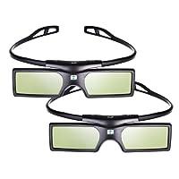 Pergear 3D Active Shutter Glasses Bluetooth Eyewear TV Glasses for Samsung/SONY/Panasonic/Konka/LG/Toshiba Bluetooth 3D TVs - 2 Pairs
