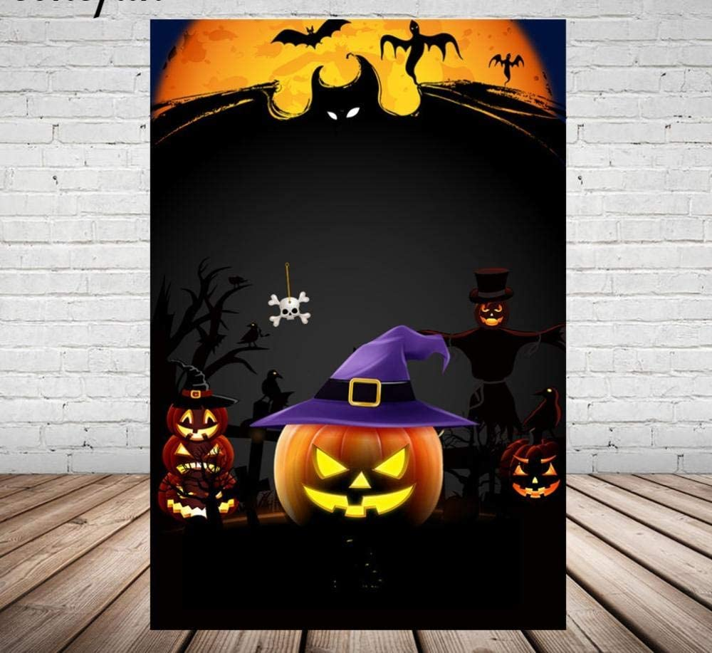 MIVENCHY Vinyl Scary Ghost Skull Bat Pumpkin Halloween Photo Backgrounds for Photo Studio Moon Black Backdrop Customized-150CMx220CM
