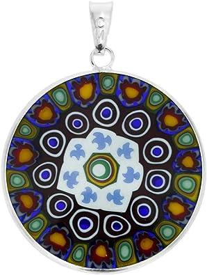 GlassOfVenice Murano Glass Millefiori Pendant in Silver Frame 1-14