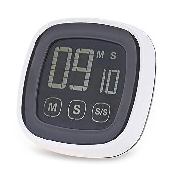 Plástico Pantalla táctil Digital de cocina temporizador multifunción reloj cocina temporizador alarma zumbador con retroiluminación LED