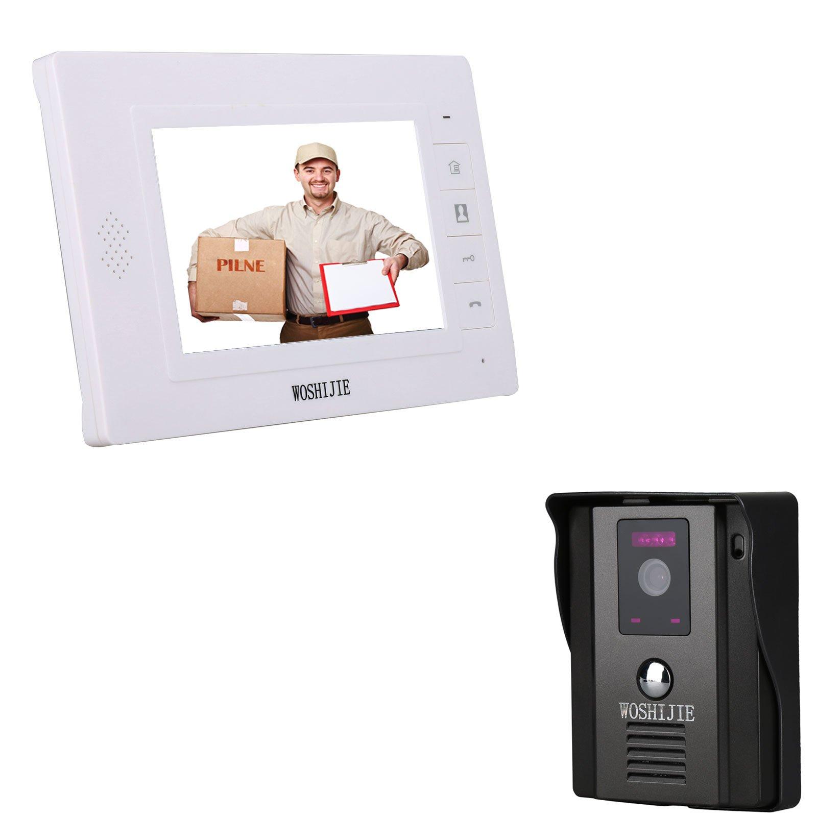 7''Wired Video Doorbell Phone,WOSHIJIE Rainproof Intercom Monitor Video Doorphone System,IR Night Vision 600TVL HD Camera kits Support Unlock, Monitoring for Home Security(1 camera,1 monitor)