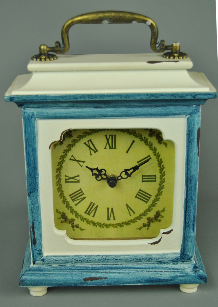 Four Seasons- Vintage French style Ornate Ivory and Blue Mantle Desk top Carriage Clock Four Seasons Liverpool