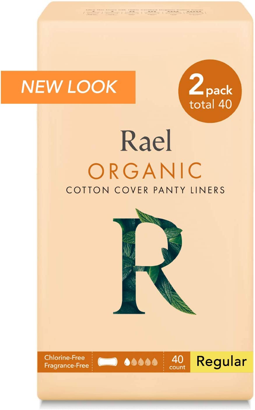 Rael Certified Organic Cotton Panty Liners, Regular - 2Pack/40 total - Unscented Pantiliners - Natural Daily Pantyliners (2 Pack) ,6 Inch