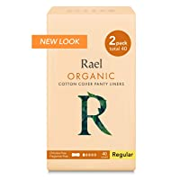 Rael Certified Organic Cotton Panty Liners, Regular - 2Pack/40 total - Unscented...