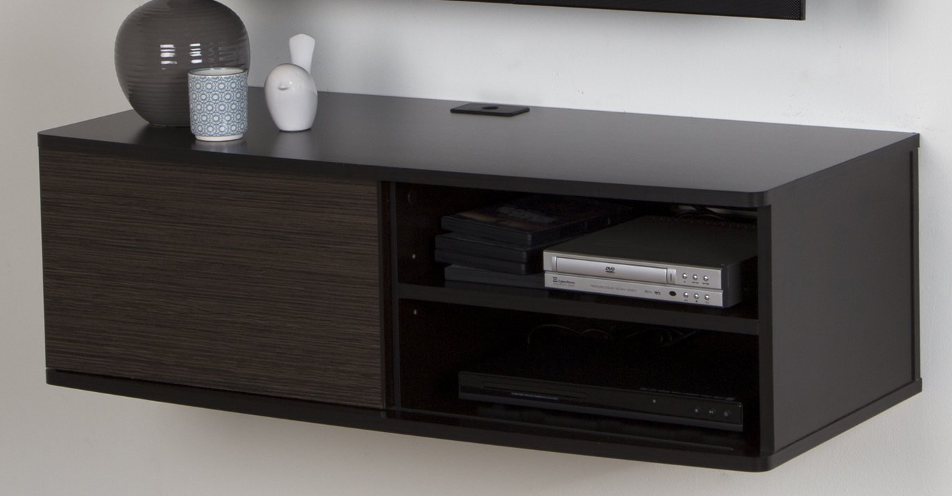 South Shore Agora Wall Mounted Media Audio/Video Console with Sliding Door, Chocolate & Zebrano