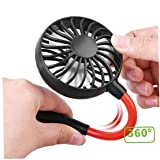 Handheld Mini Fan With Neck Hanging Design Portable USB Charging Fan Outdoor Hanging Rope Mini Fan Black
