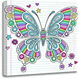 Emvency Canvas Wall Art Print Rainbow Psychedelic Groovy Doodle Butterfly and on Lined Sketchbook Artwork for Home Decor 12 x 12 Inches