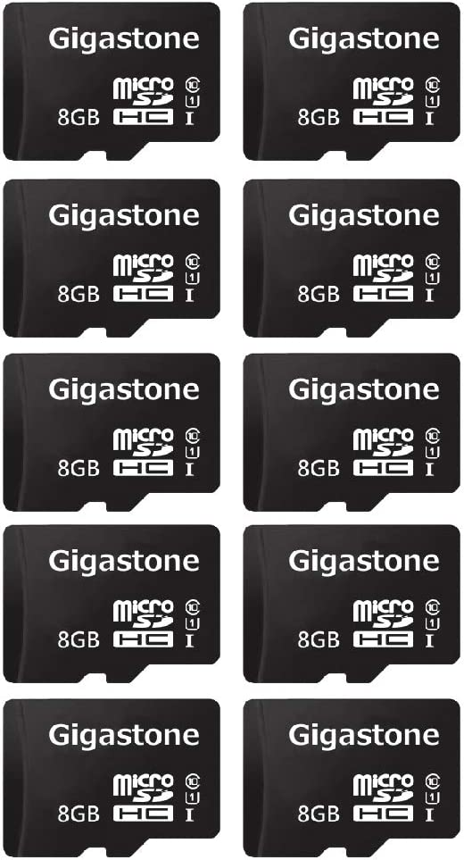 Gigastone 8GB 10-Pack Micro SD Card, FHD Video, Surveillance Security Cam Action Camera Drone Professional, 90MB/s Micro SDXC UHS-I U1 Class 10