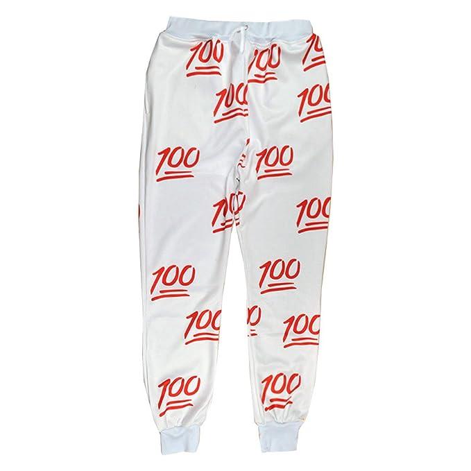 Unisex Hipster 100 Emoji Joggers Pants White Sweatpant Sportswear L