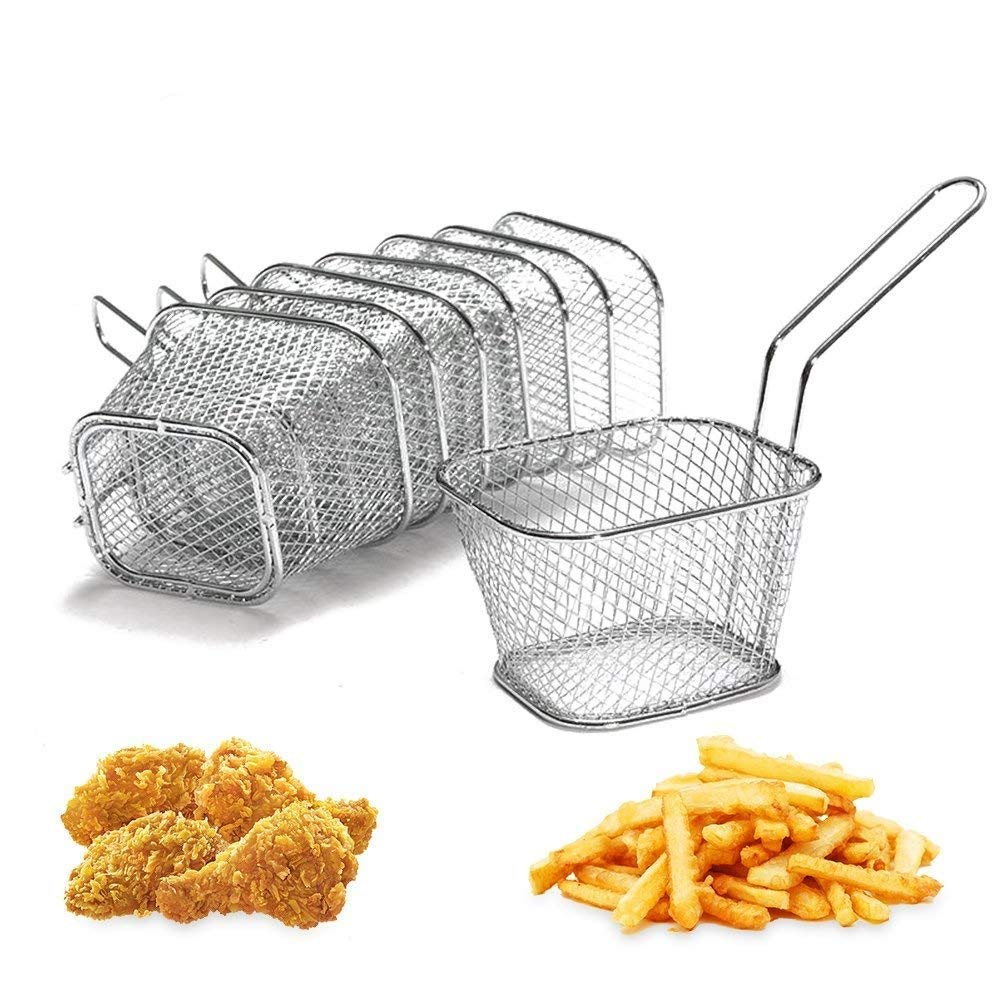 8Pcs Mini Square Stainless Steel Chips Deep Fry Baskets Serving Food Presentation Strainer Potato Cooking Tool Tableware,Table Serving
