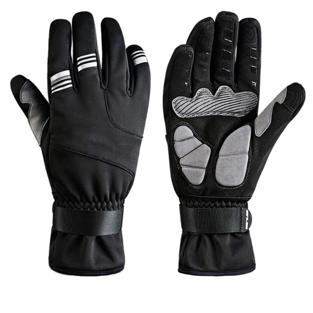 Qzp Handschuhe Winter Männer Und Frauen Winddicht Warm Touchscreen Mountainbike Handschuhe Elektro Motorrad Ausrüstung Reiten,schwarz-XXL