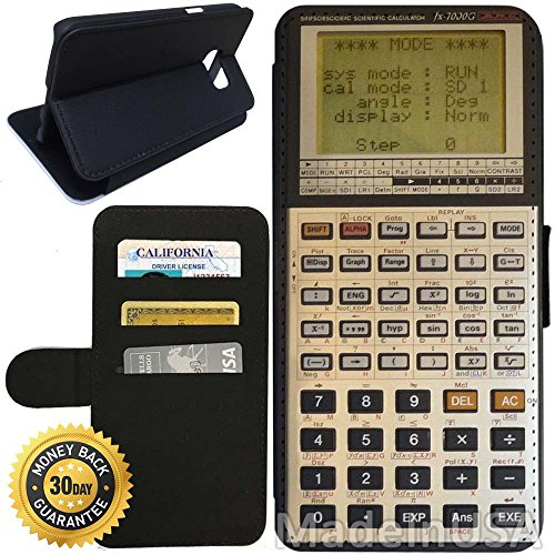 Flip Wallet Case for Galaxy S7 (Scientific Calculator Retro) with Adjustable Stand and 3 Card Holders | Shock Protection | Lightweight | Includes Stylus Pen by Innosub
