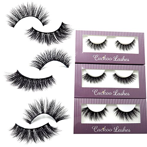 Cuckoo Lashes 100% Handmade 3D Faux Mink Lashes Individual Korean Silk False Eyelashes 3 Pairs per Set Multipack Package for Daily Makeup (Best Korean False Eyelashes)
