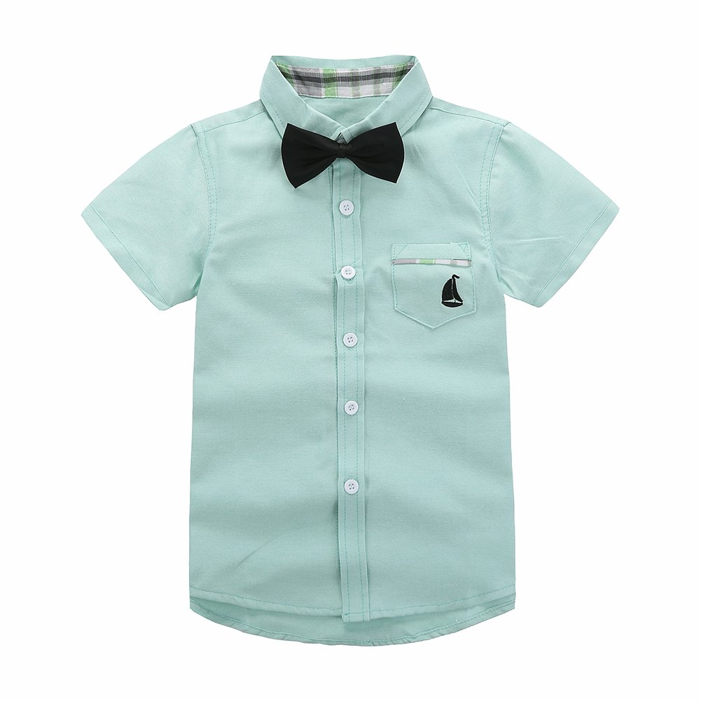 Motteecity Trendy Boys Clothes Solid Bow Tie Ship Embroider Short Sleeves Casual Polo Shirt Green 3T