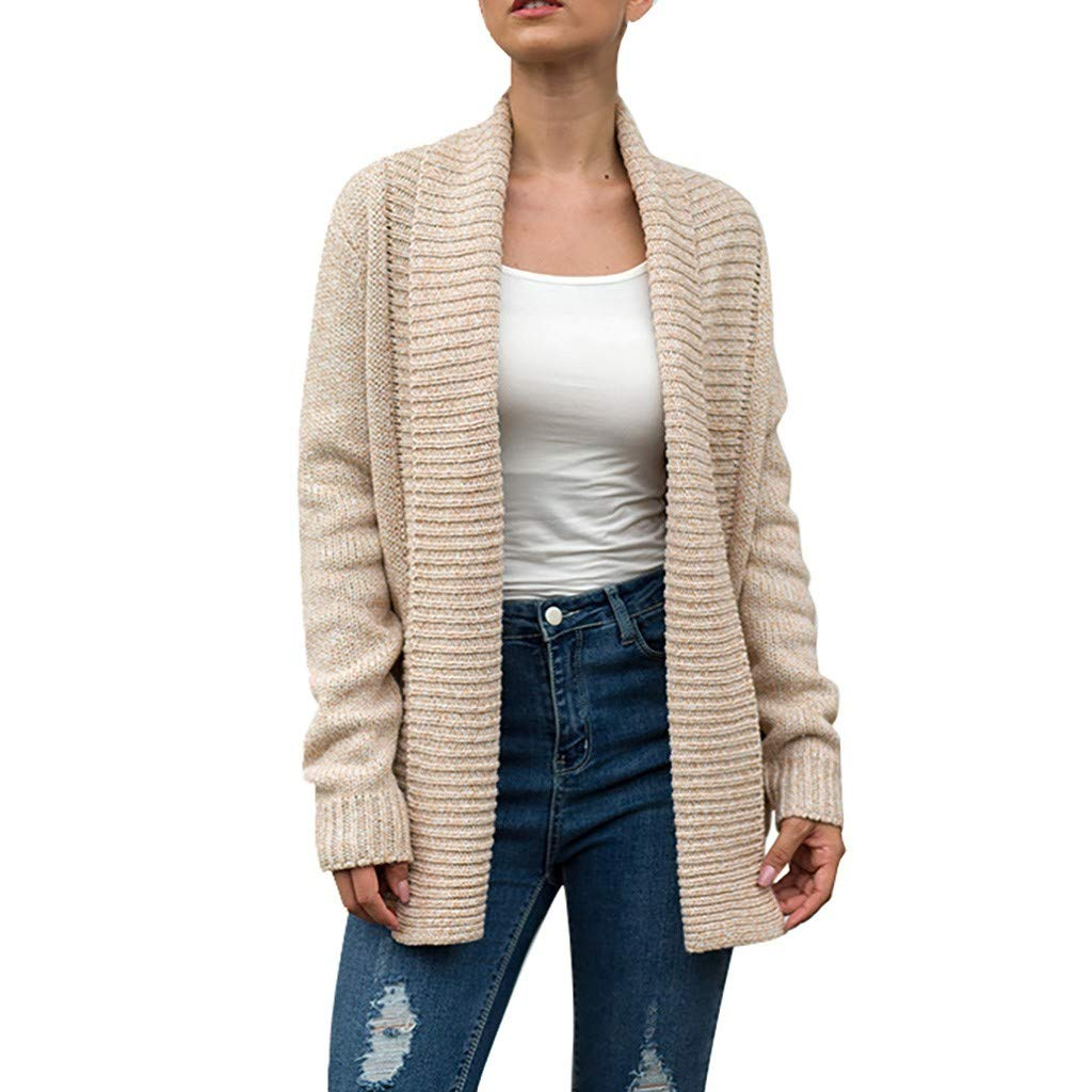 Cianjue Women's Long Sleeve Soft Chunky Knit Sweater Open Front Cardigan Outwear with Pockets Cover Up Blouse Khaki