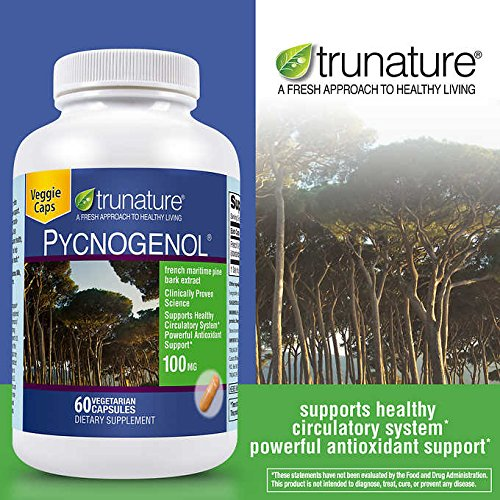 TruNature Pycnogenol 100 mg - French Maritime Pine Bark Extract, Powerful Antioxidant Support - 2 Bottles, 50 Vegetarian Capsules Each by TruNature