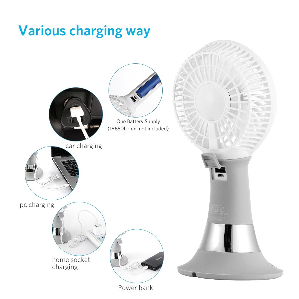 / 2 in 1 Ventilador de Mano//Mesa Port/átil con LED y Soporte Movil No 18650 li-ion bateria incluida Verde Ventilador USB Mini