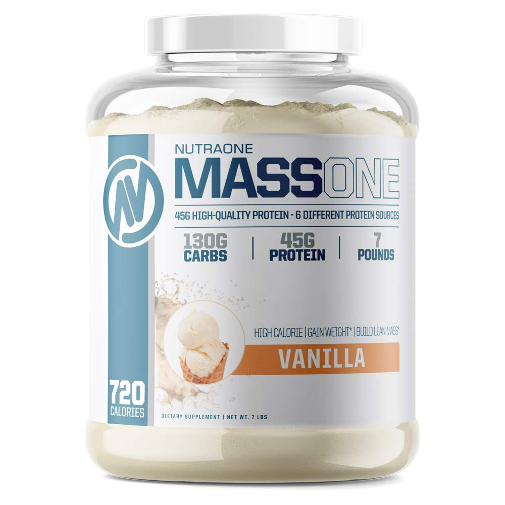 Massone Mass Gainer Protein Powder by NutraOne Vanilla – 7 lbs.