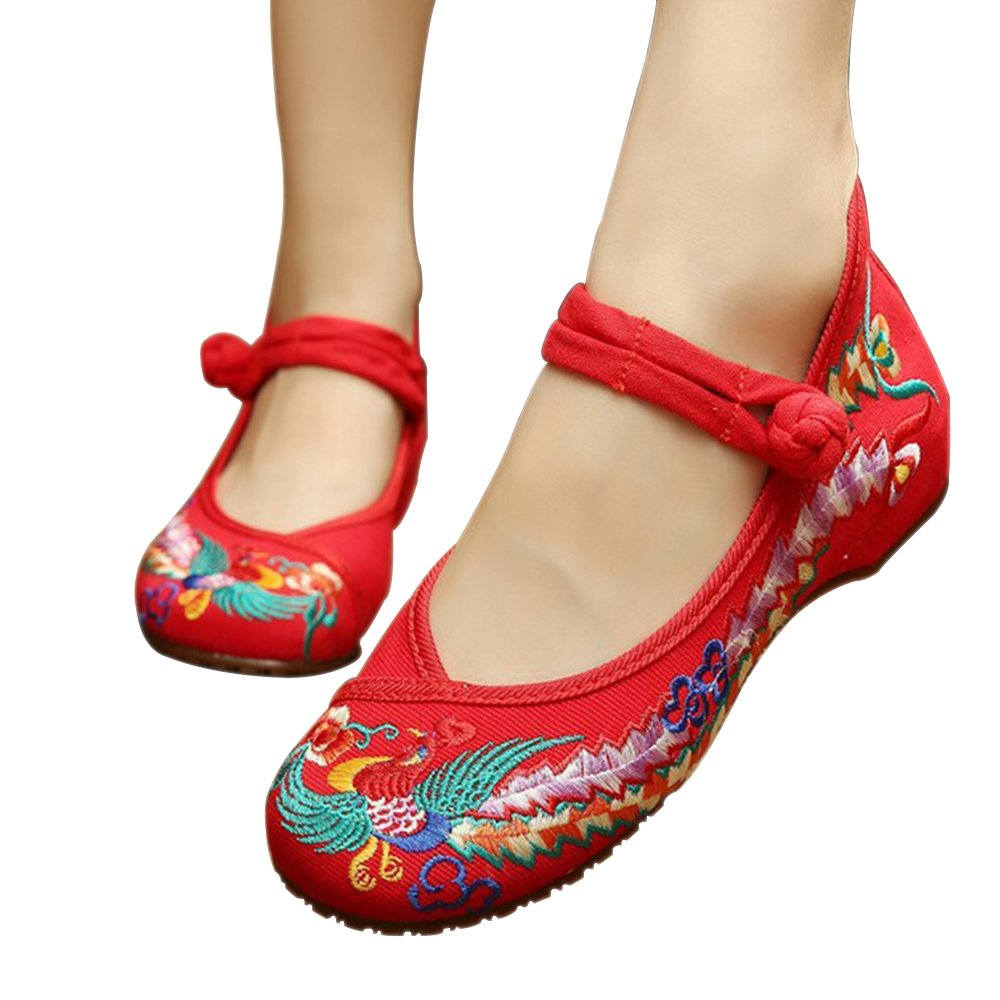 XFentech Donna Ballerine Mary Jane Basse Scarpe Loafers Pantofole Stile Etnico Fiore