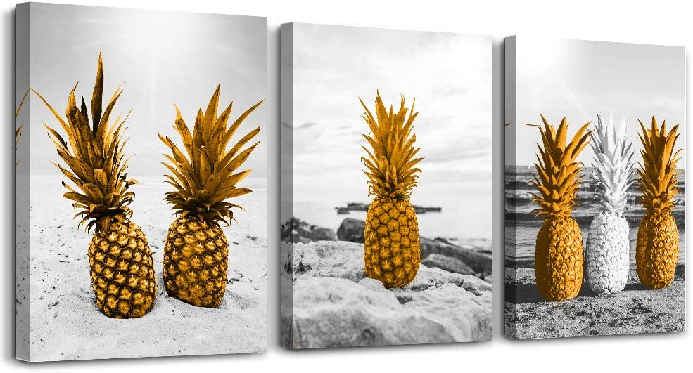 """Canvas Wall Art for living room bathroom Wall Decor Canvas Prints kitchen wall Artwork Home Decor Black and white view pineapple watercolor painting 12""""x16""""x3 Piece framed bedroom Decorations Pictures"""