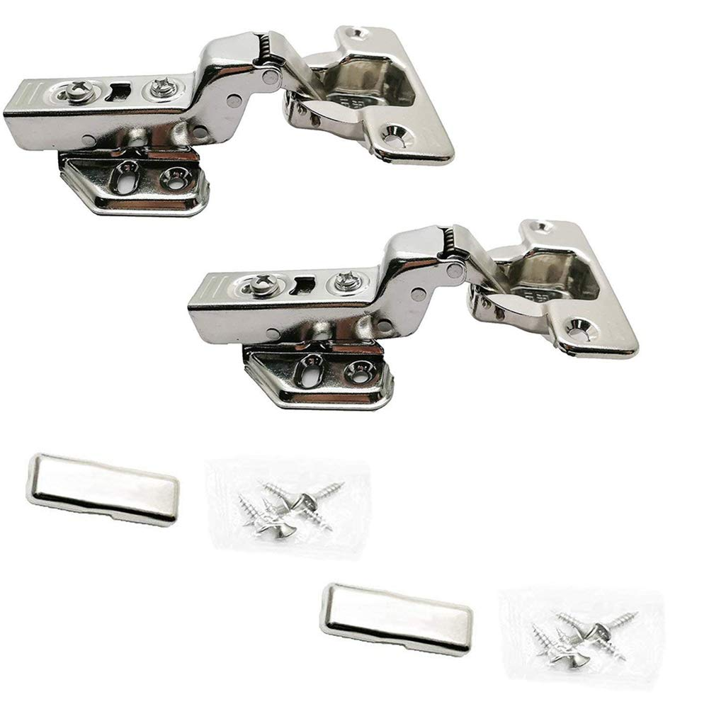 BTMB 2 Pcs 304 Stainless Steel Concealed Hinge Hydraulic Soft Slow Close Half Overlay Hinges for Kitchen Cabinet Door Furniture