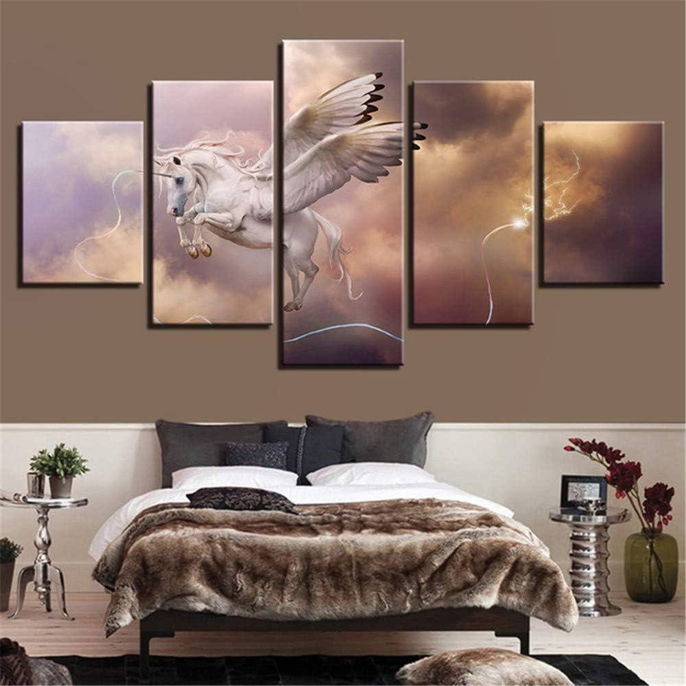 Whian Home Wall Art Decor Hang Hand Painted Modern Oil Painting On Canvas DIY 5Pcs/Set Pegasus Unicorn 100x40 80x40 60x40(cm) Frameless