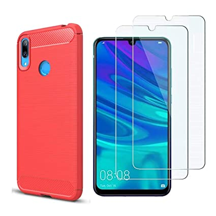 quality design 2247f 9ec58 Case Huawei P Smart 2019 Screen Protector, MYLB-US [3 in 1] Ultra-Thin  Shockproof Carbon Fiber Cover +9H Tempered Glass for Huawei P Smart 2019  Mobile ...