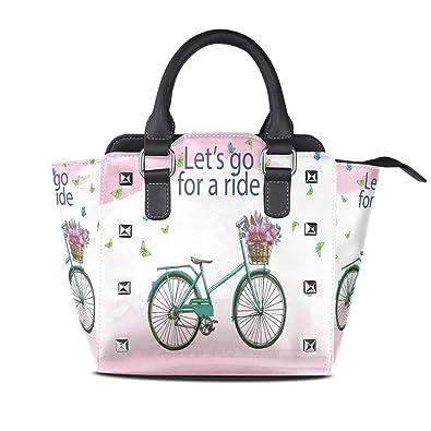 Image Unavailable. Image not available for. Color  Women Handbag Let s Go For  A Ride Bike Flowers Butterflies Leather Shoulder Bag 81cd32a3ba22c