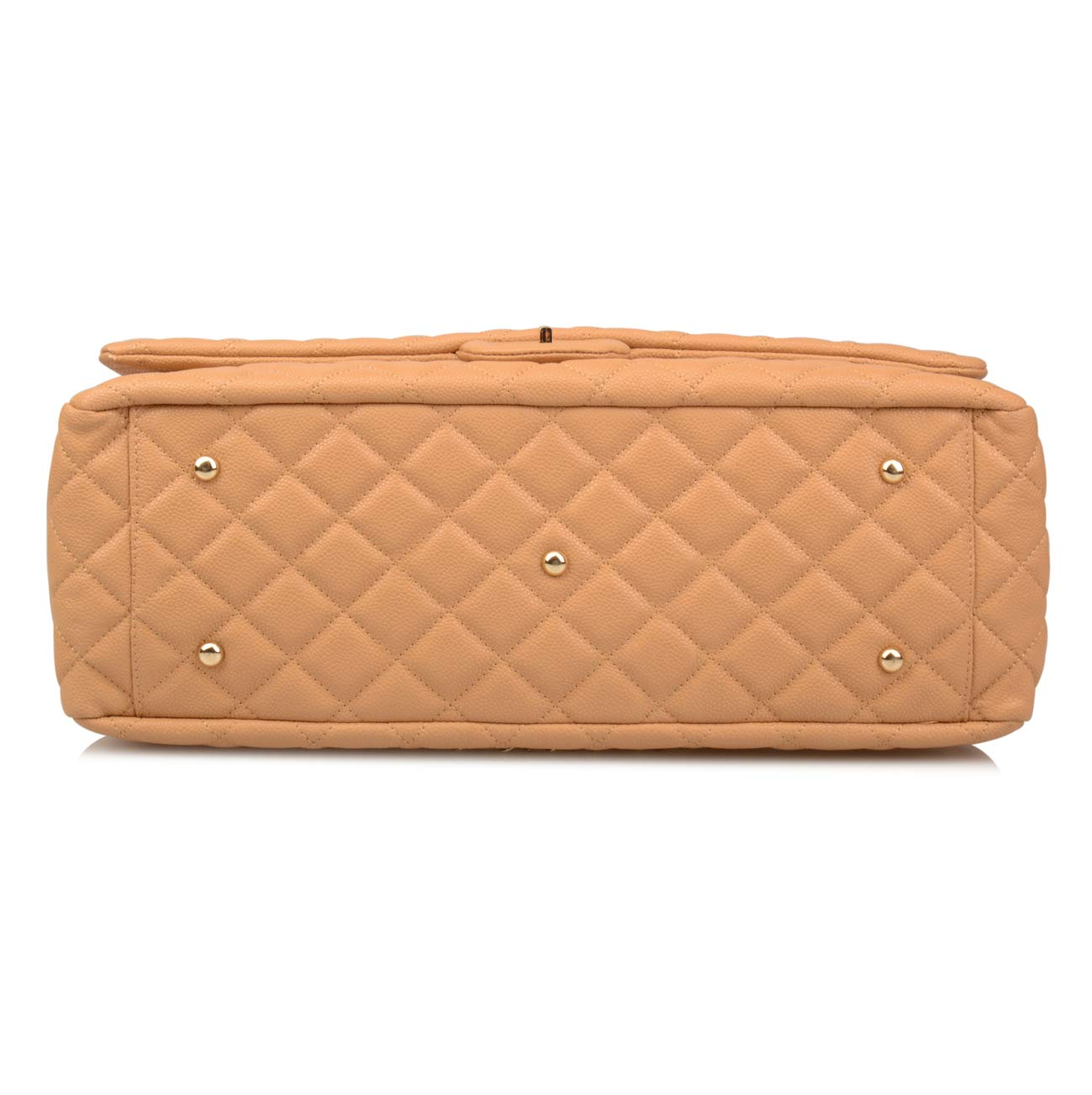 Ainifeel Women's Genuine Leather Oversize Quilted Flap Handbag Large Travelling Tote Bag Luggage Holdall (Oversize, Apricot (gold hardware)) by Ainifeel Quilted&Chain Strap Collection (Image #5)