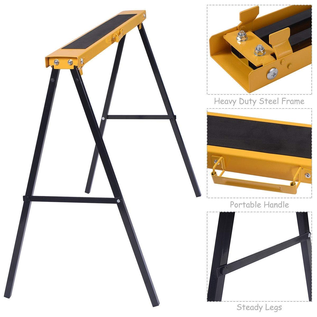 Sawhorse Heavy Duty Folding 2 Pack Steel Portable Saw Horse Legs Pair Workshop MD Group by MD Group (Image #5)