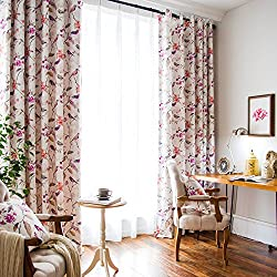 VOGOL Printed Bedroom Curtains, Window Grommet Panels Floral Room Darkening Drapes,Curtain for Living Room and Balcony, W52 x L84 inch, One Panel, Purple