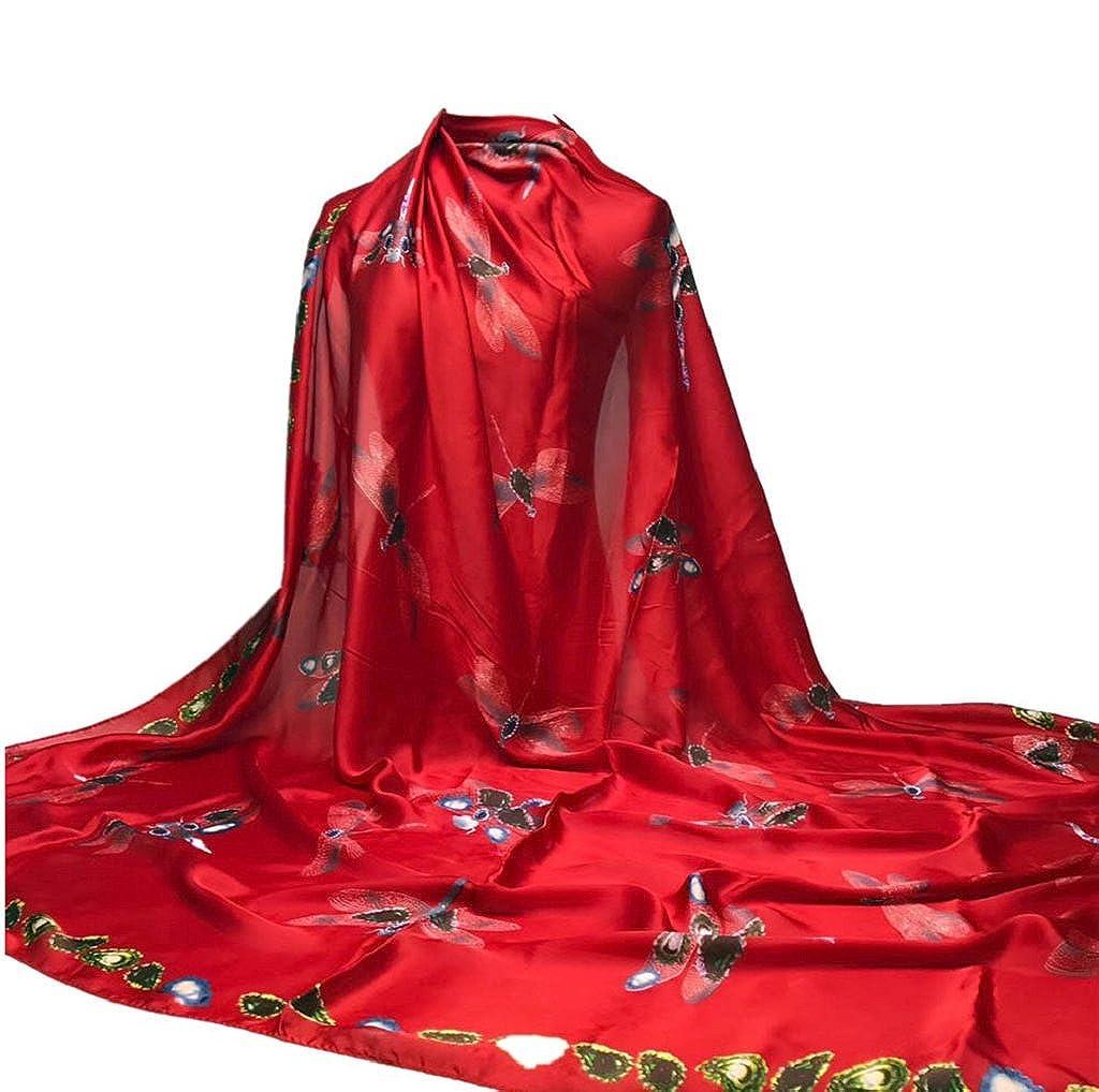 TUDUZ Women Scarves Ladies Dragonfly Printing Hijab Scarves Long Wrap Shawl Ladies Silk-Satin Square Scarf 140*140CM)