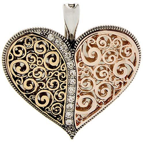 - Wearable Art by Roman Tri-Tone Puffy Filigree Heart Pendant Tri Tone