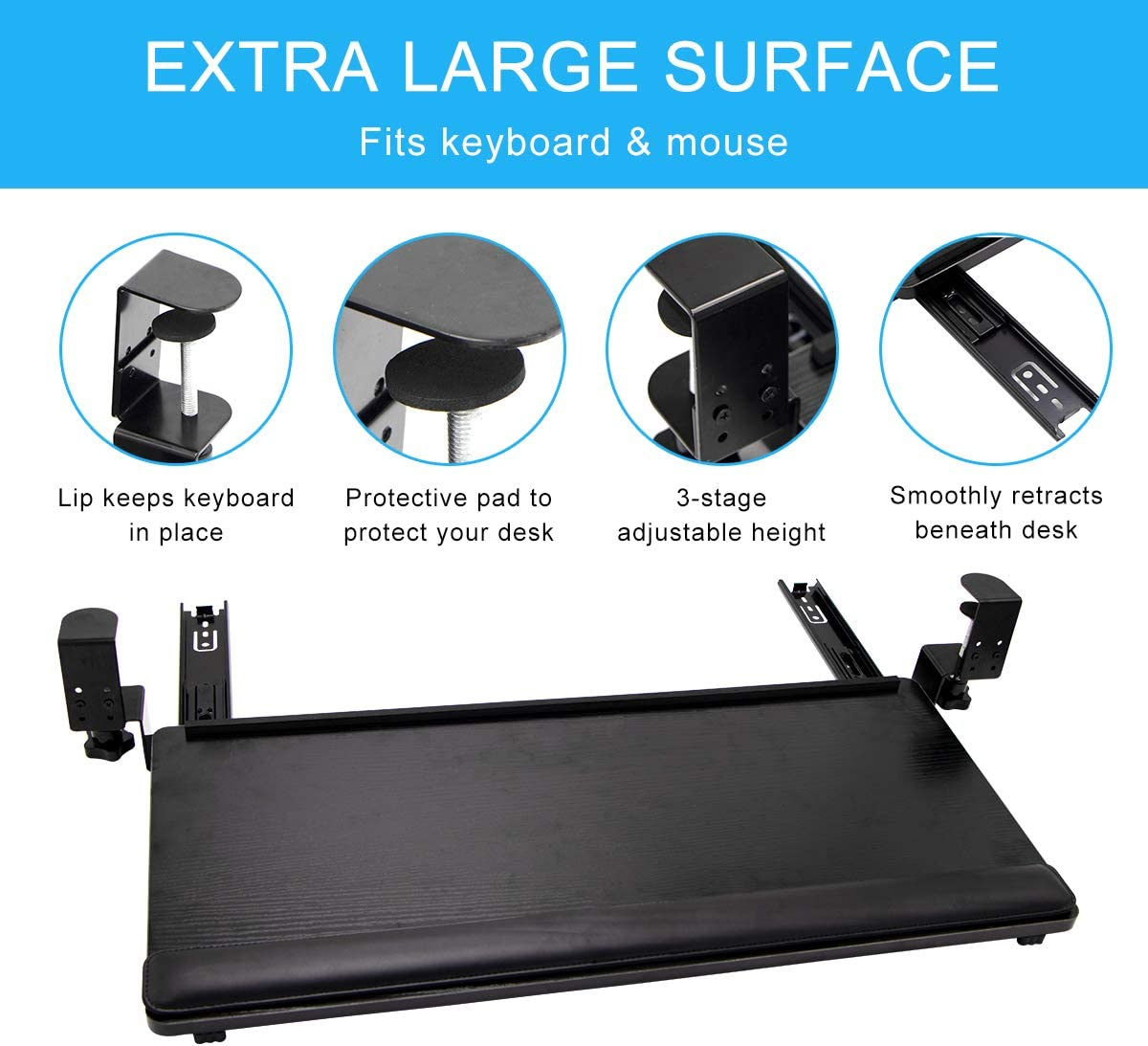 SLSY Large Keyboard Tray Under Desk Pull Out Ergonomic Keyboard Drawer with Keyboard Wrist Rest Clamp On Retractable Adjustable Computer Keyboard Mouse Platform Tray Shelf