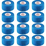 Pangda 12 Pieces Adhesive Bandage Wrap Stretch Self-Adherent Tape for Sports, Wrist, Ankle, 5 Yards Each (1 Inch, Blue)