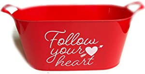 Valentines Baskets for Gifts Empty Red Plastic Bucket with Handles Decorative Container for Kids Toys Candy Snack Storage Treat Swap Goodies Chocolate Nuts Basket for Organizing Follow Your Heart