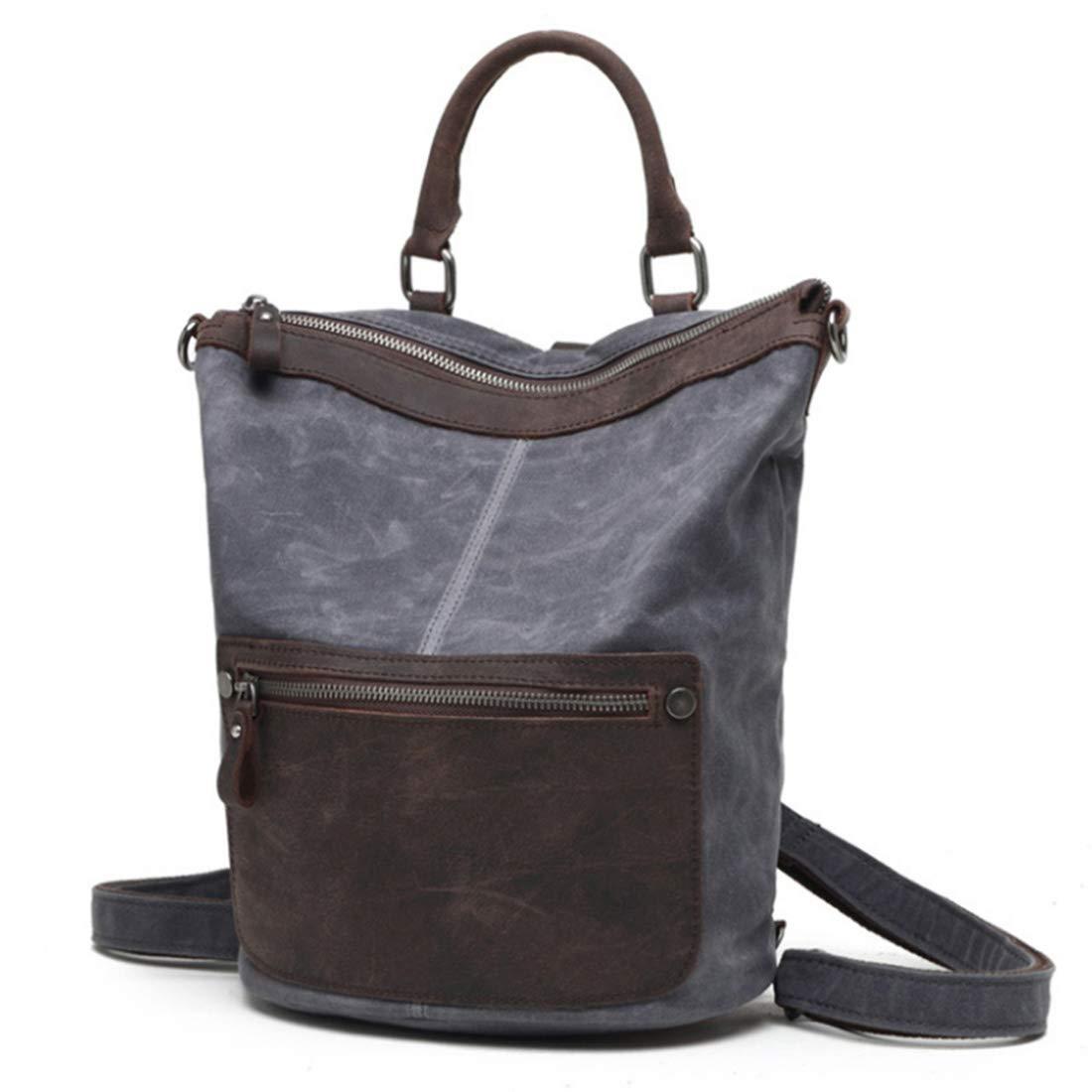Cassiely 高密度綿の生地および屋外旅行バックパックが付いているオイルのワックスの防水頭部の層の革キャンバス袋。防水バックパックノートブックバックパック (色 : 暗灰色)  暗灰色 B07RJFXS3D