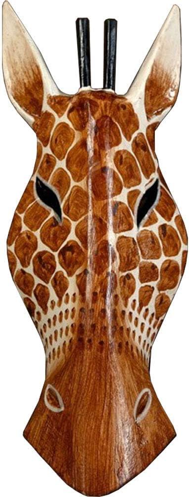 African Masks Giraffe Mask Home Decor Wood Carved African Giraffe Wall Hanging Safari Decor (Giraffe 12