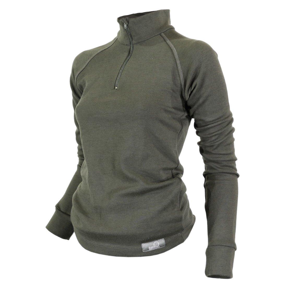 Raptor Hunting Solutions Merino Wool Thermal Ladies Underwear Base Layer Top Long Sleeve Zip Collar Shirt Green