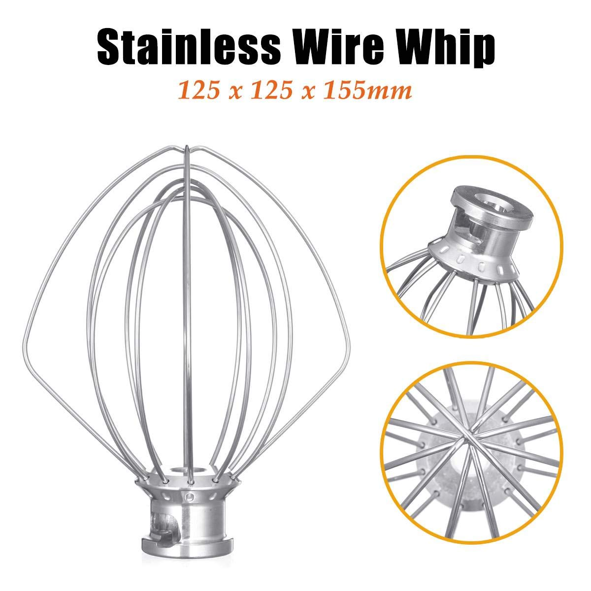 304 Stainless Steel Wire Whip Mixer Attachment For KitchenAid K45WW 9704329 Egg Cream Stirrer Flour Cake Balloon Whisk