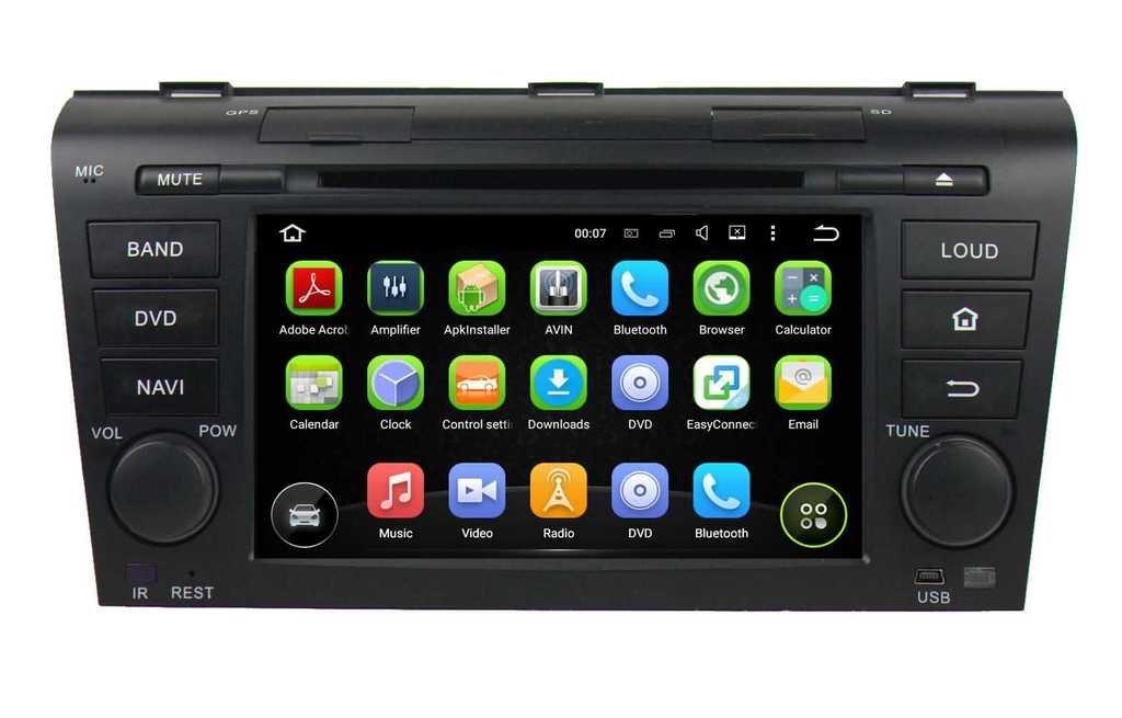 2 Din 7 pouces Android 5.1.1 Lollipop stéréo de voiture pour Mazda 3 2004 2005 2006 2007 2008 2009,DAB+ radio 1024x600 écran tactile capacitif avec Quad Core Cortex A9 1.6G CPU 16G flash et 1G de RAM DDR3