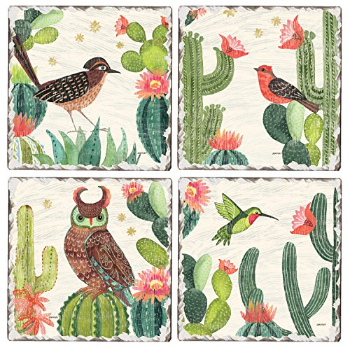 CounterArt Set of 4 Assorted Tumbled Tile Coasters, Folk Art Desert Scenes