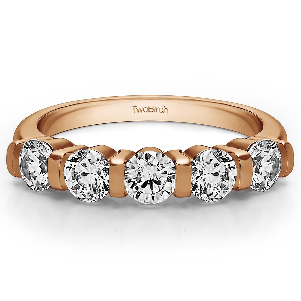 TwoBirch Sterling Silver Five Stone Bar Set Wedding Band with Cubic Zirconia 1 ct. tw.