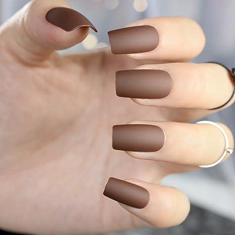 Juego de 24 uñas postizas de acrílico con acabado en marrón chocolate, cuadradas, tamaño