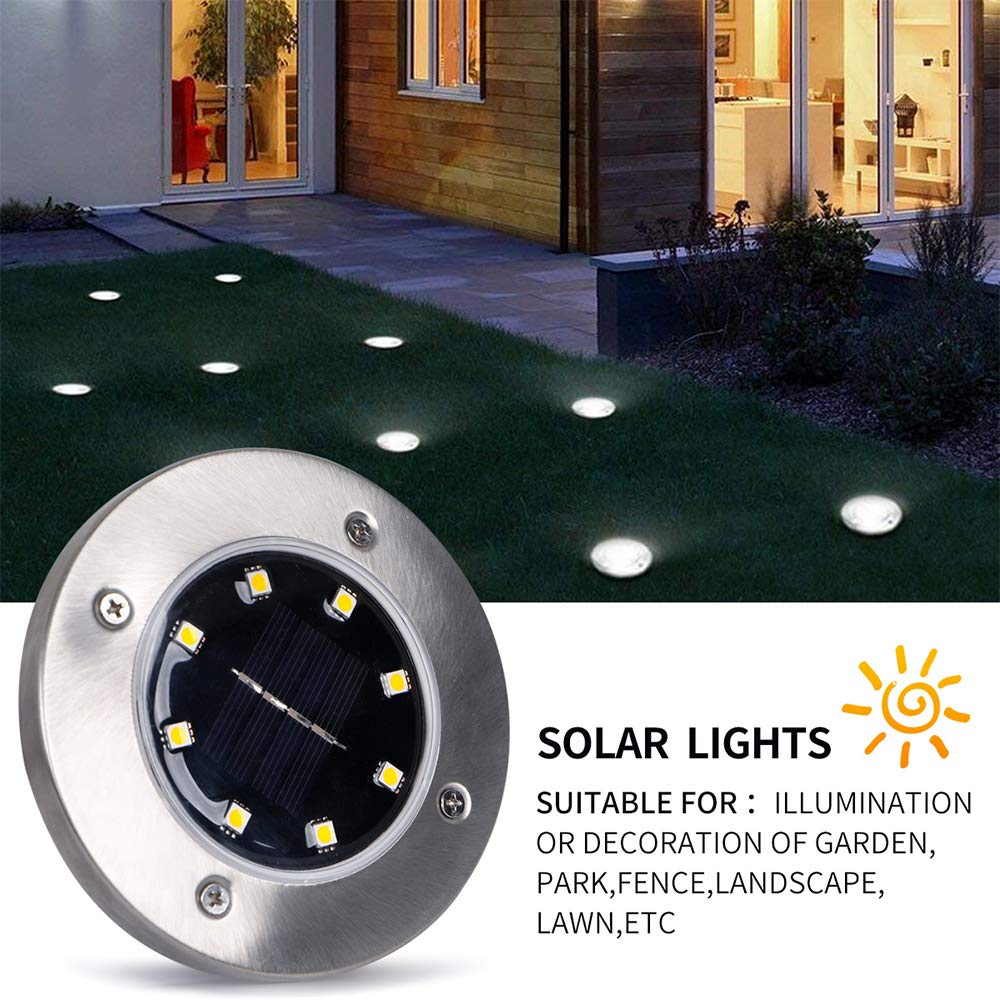 Aikars Solar in-Ground Lights, Outdoor Garden Pathway Ground Lights, Waterproof Path Disk Lights with 8 Led for Patio Walkway, Yard Driveway, Lawn Pathway ...