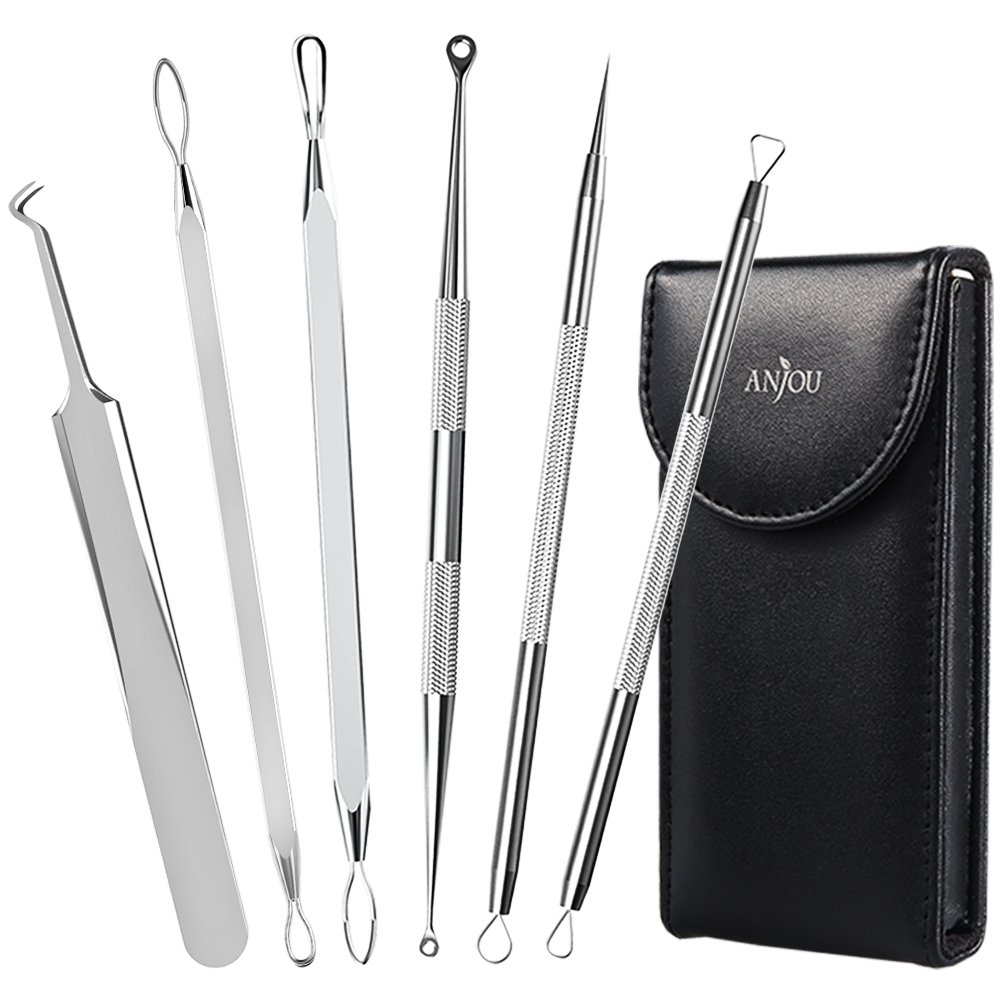 Anjou Blackhead Remover Comedone Extractor Curved Blackhead Tweezers Kit 6in1 Professional Stainless
